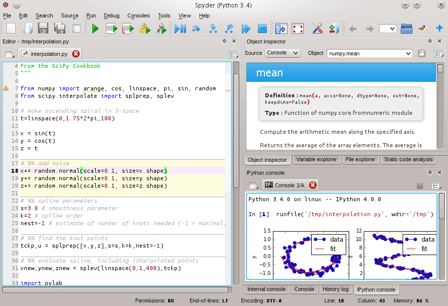 Spyder Python IDE Screenshot