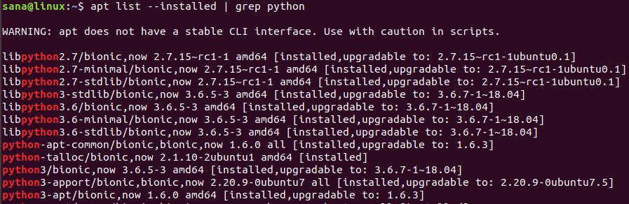 Вывод списка всех версий Python на Linux Ubuntu