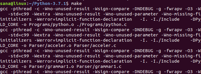 Запуск команды make для сборки Python 3