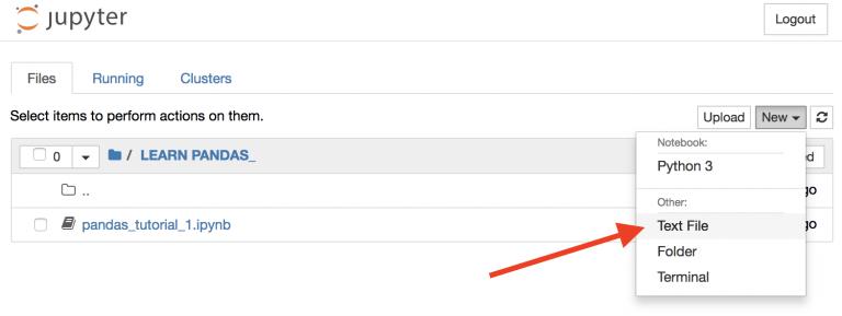 Создания нового текстового файла в Jupyter