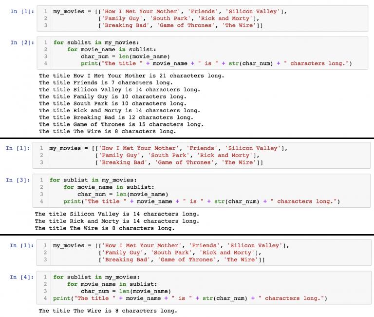 Цикл for внутри цикла for - синтаксис