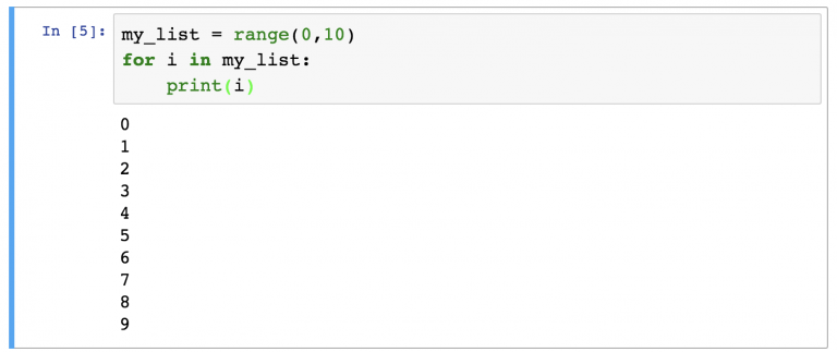 Итерация по объектам range()