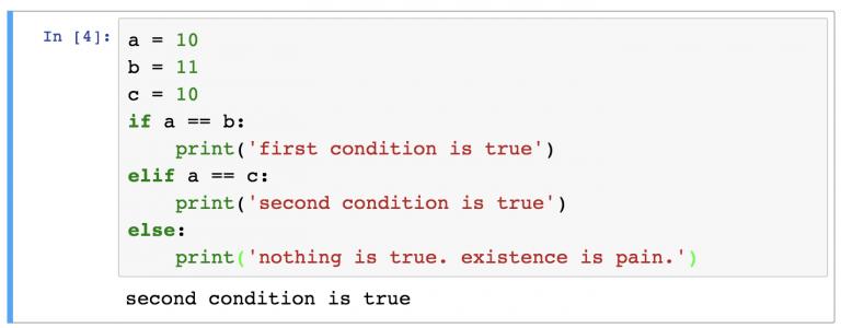 Последовательность if-elif-else