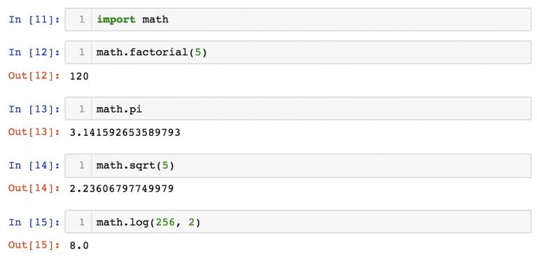 Встроенный модуль №3: math