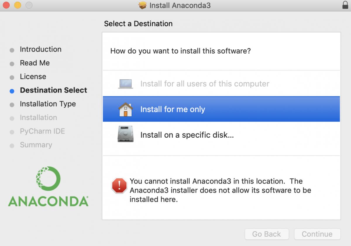 Место установки Anaconda на macOS