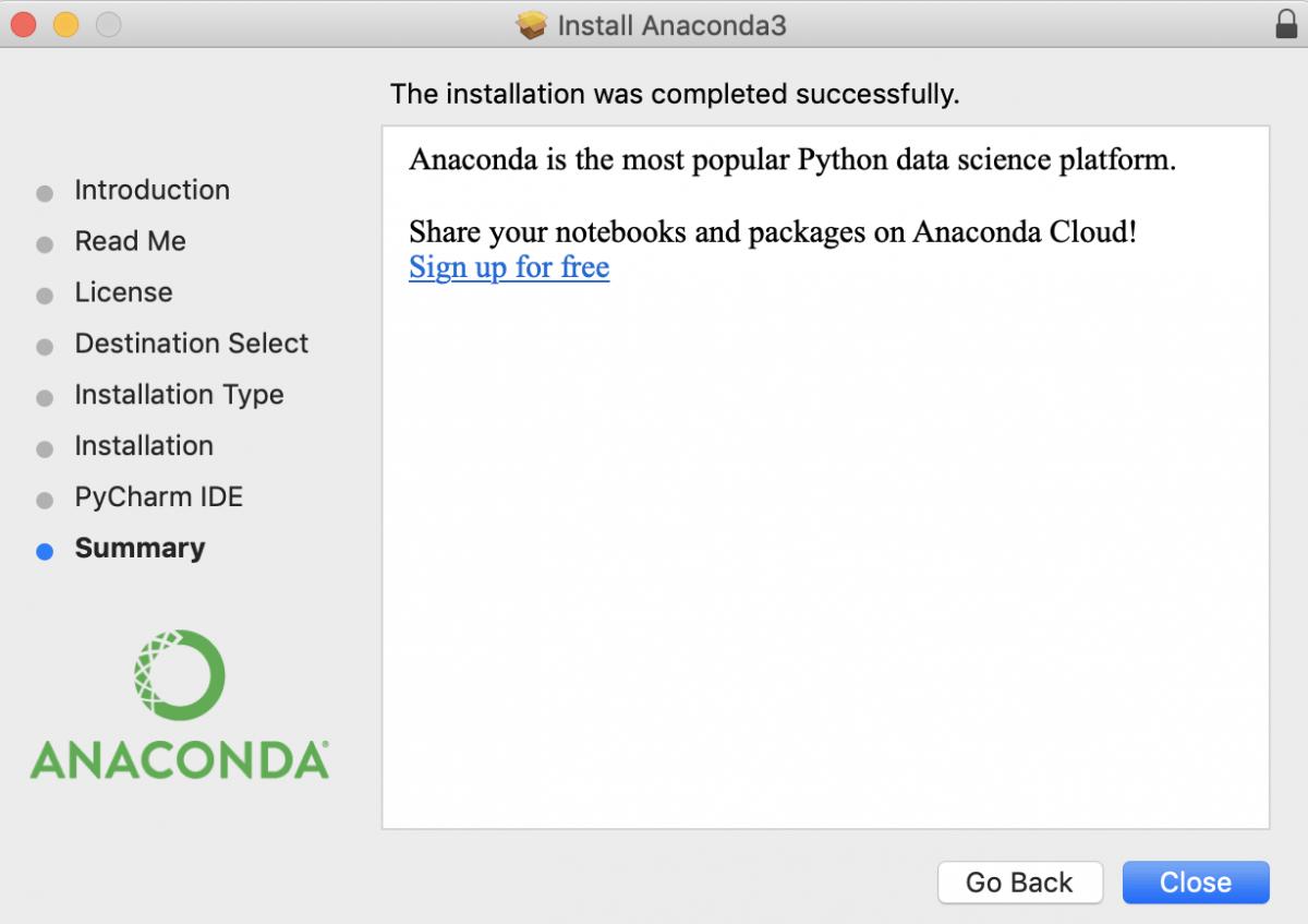 Установка Anaconda прошла успешно