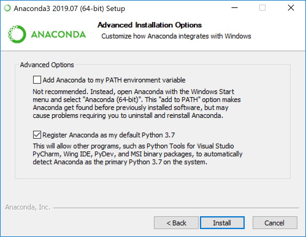 Выбор добавлять ли Anaconda в PATH