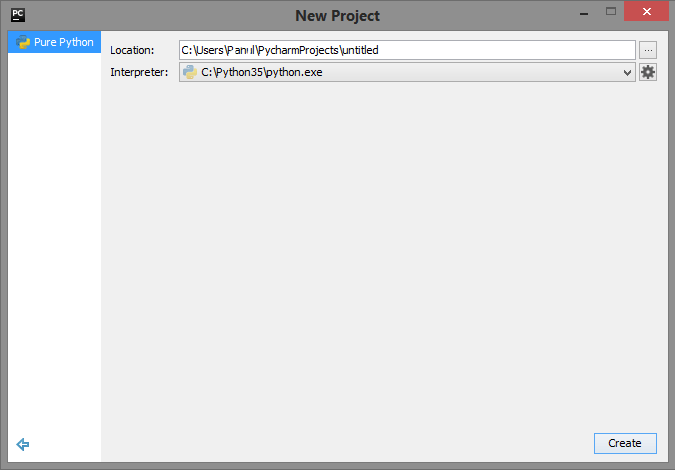 Create New Project PyCharm