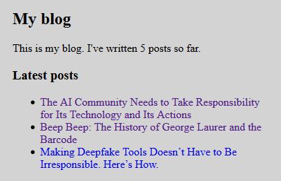 Отображения последних трех постов