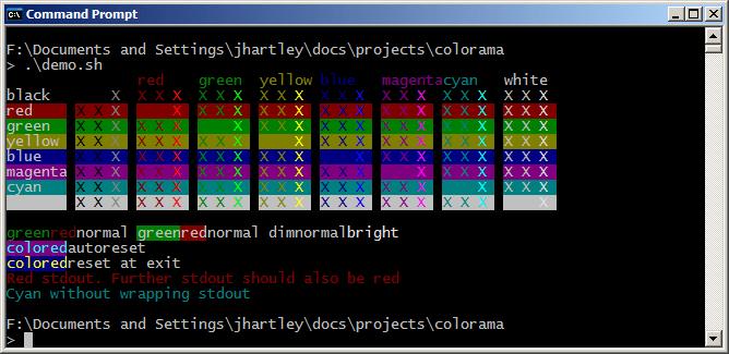 ANSI-последовательности на Windows, используя Colorama